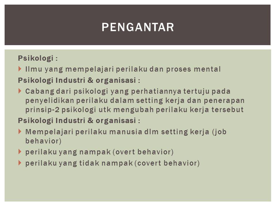 Psikologi :  Ilmu yang mempelajari perilaku dan proses mental Psikologi Industri & organisasi :  Cabang dari psikologi yang perhatiannya tertuju pad