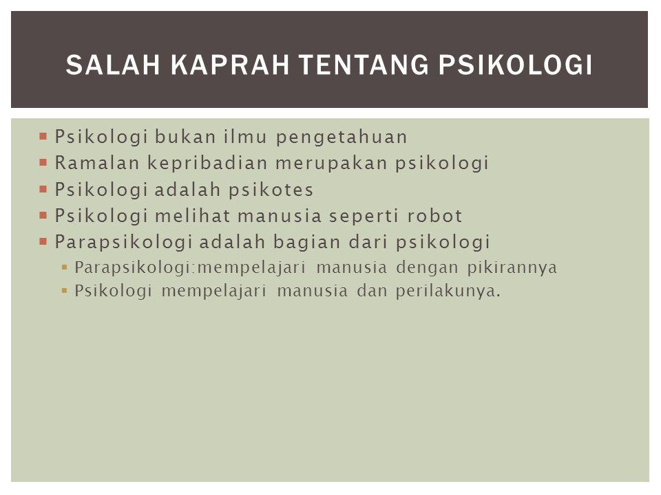 Psikologi bukan ilmu pengetahuan  Ramalan kepribadian merupakan psikologi  Psikologi adalah psikotes  Psikologi melihat manusia seperti robot  P