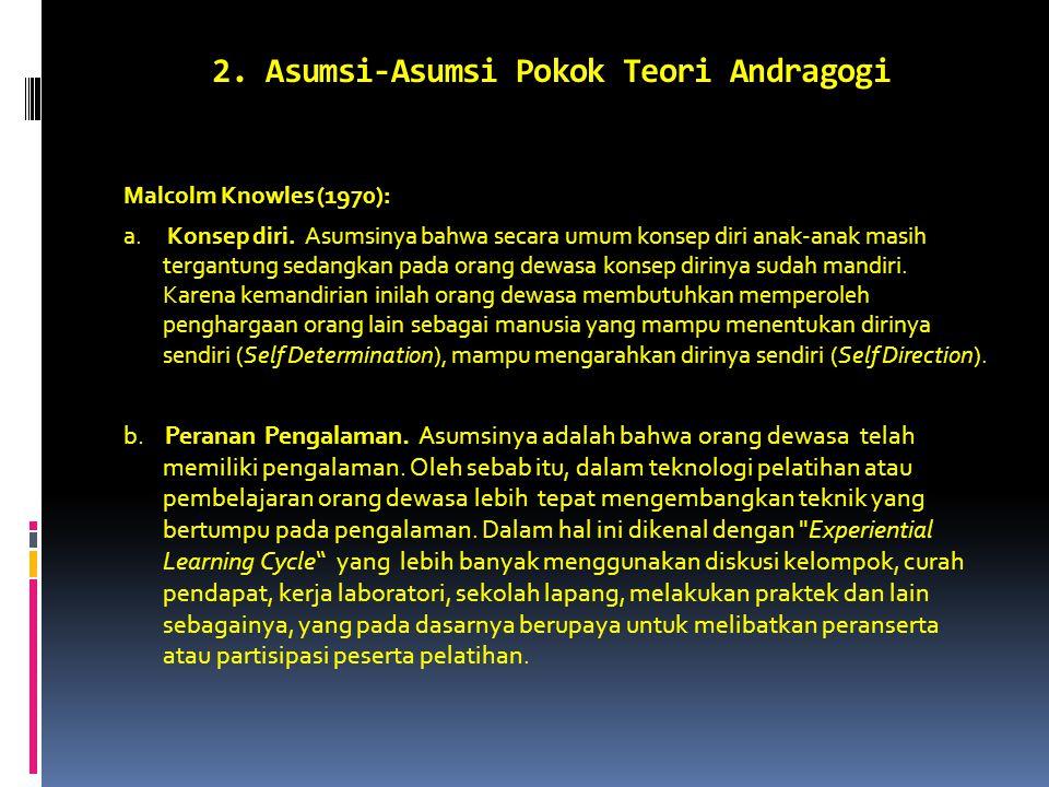 2. Asumsi-Asumsi Pokok Teori Andragogi Malcolm Knowles (1970): a.