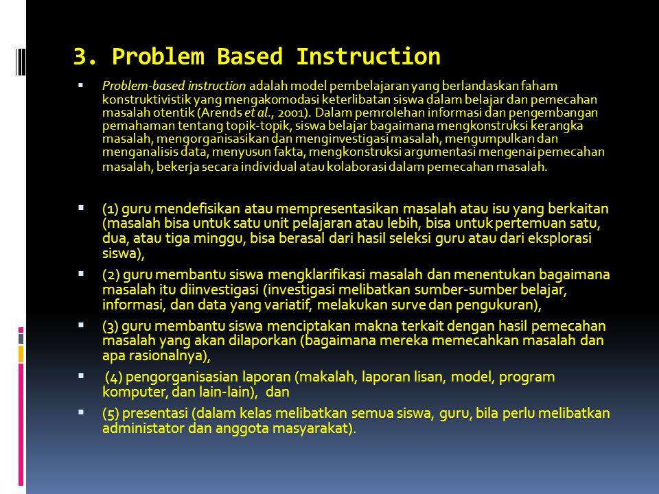 3. Problem Based Instruction  Problem-based instruction adalah model pembelajaran yang berlandaskan faham konstruktivistik yang mengakomodasi keterli