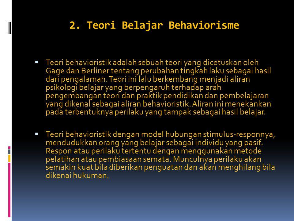 2. Teori Belajar Behaviorisme  Teori behavioristik adalah sebuah teori yang dicetuskan oleh Gage dan Berliner tentang perubahan tingkah laku sebagai