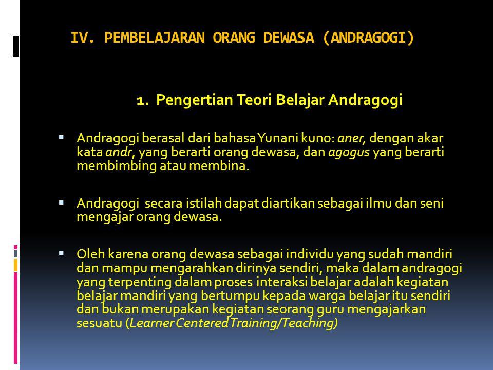 1. Pengertian Teori Belajar Andragogi  Andragogi berasal dari bahasa Yunani kuno: aner, dengan akar kata andr, yang berarti orang dewasa, dan agogus