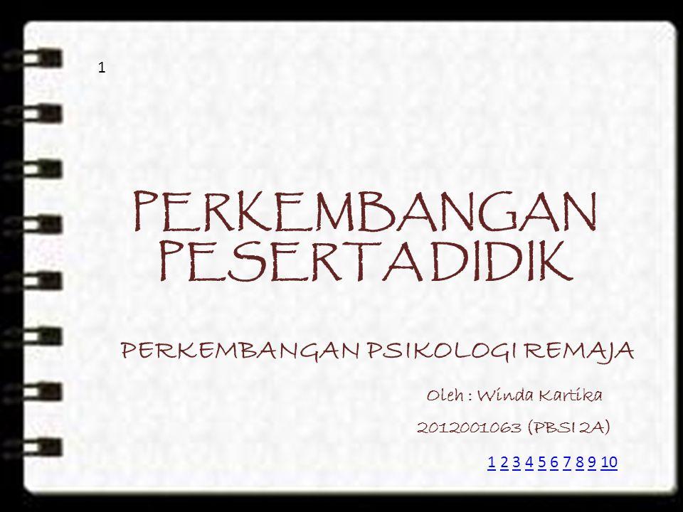 PERKEMBANGAN PESERTA DIDIK PERKEMBANGAN PSIKOLOGI REMAJA Oleh : Winda Kartika 2012001063 (PBSI 2A) 1 11 2 3 4 5 6 7 8 9 102345678910