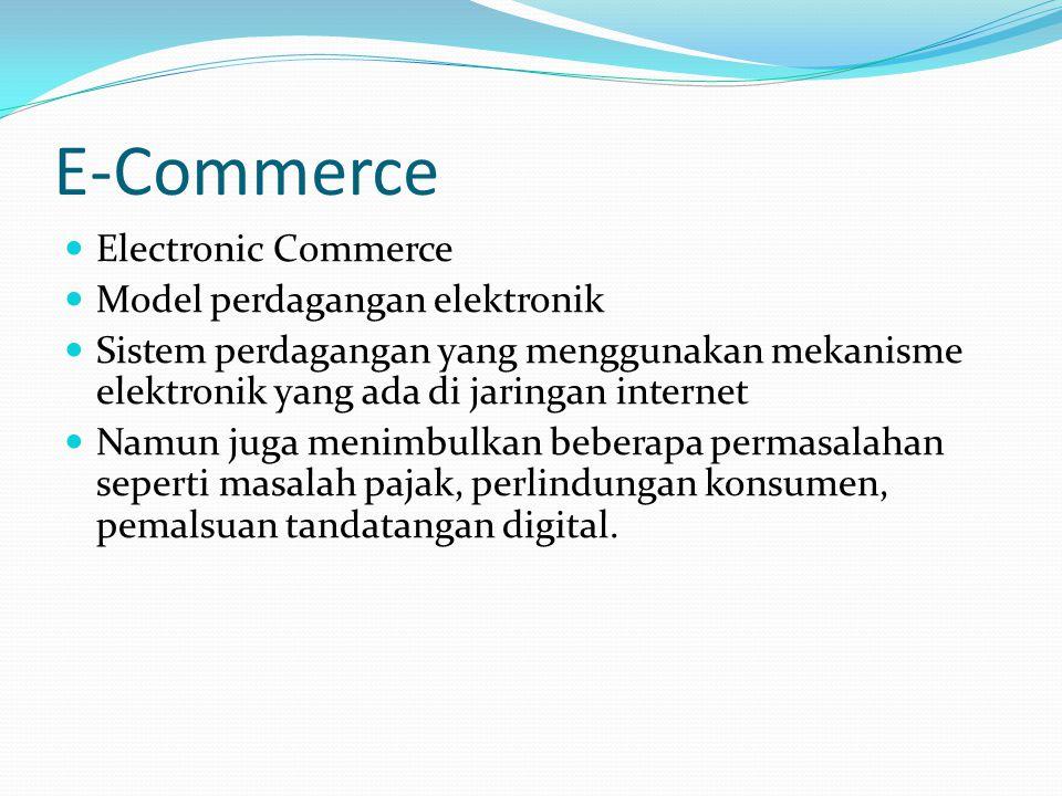 E-Commerce Electronic Commerce Model perdagangan elektronik Sistem perdagangan yang menggunakan mekanisme elektronik yang ada di jaringan internet Nam