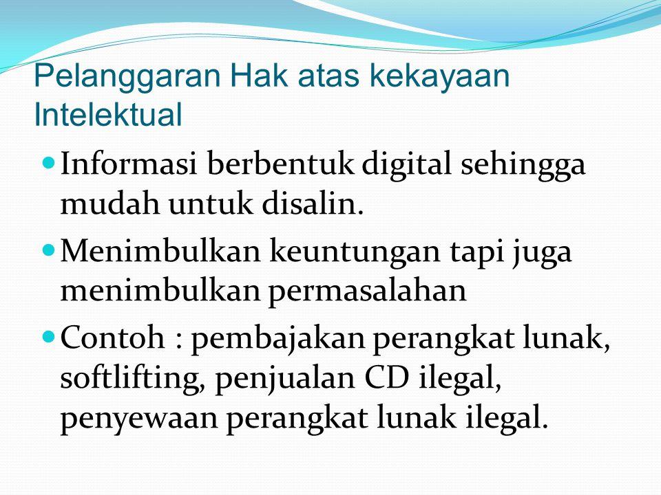 Pelanggaran Hak atas kekayaan Intelektual Informasi berbentuk digital sehingga mudah untuk disalin. Menimbulkan keuntungan tapi juga menimbulkan perma