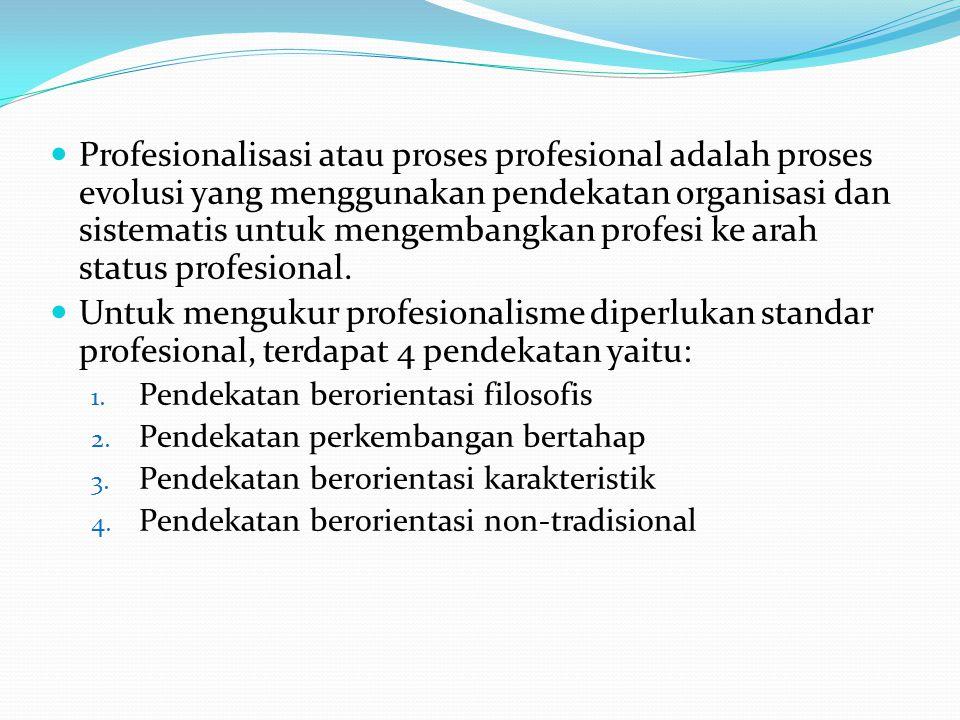 Profesionalisasi atau proses profesional adalah proses evolusi yang menggunakan pendekatan organisasi dan sistematis untuk mengembangkan profesi ke ar