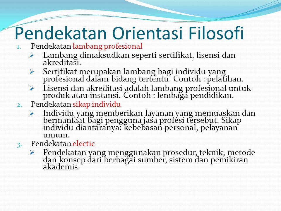 Pendekatan Orientasi Filosofi 1. Pendekatan lambang profesional  Lambang dimaksudkan seperti sertifikat, lisensi dan akreditasi.  Sertifikat merupak