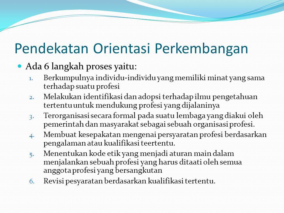 Pendekatan Orientasi Perkembangan Ada 6 langkah proses yaitu: 1. Berkumpulnya individu-individu yang memiliki minat yang sama terhadap suatu profesi 2