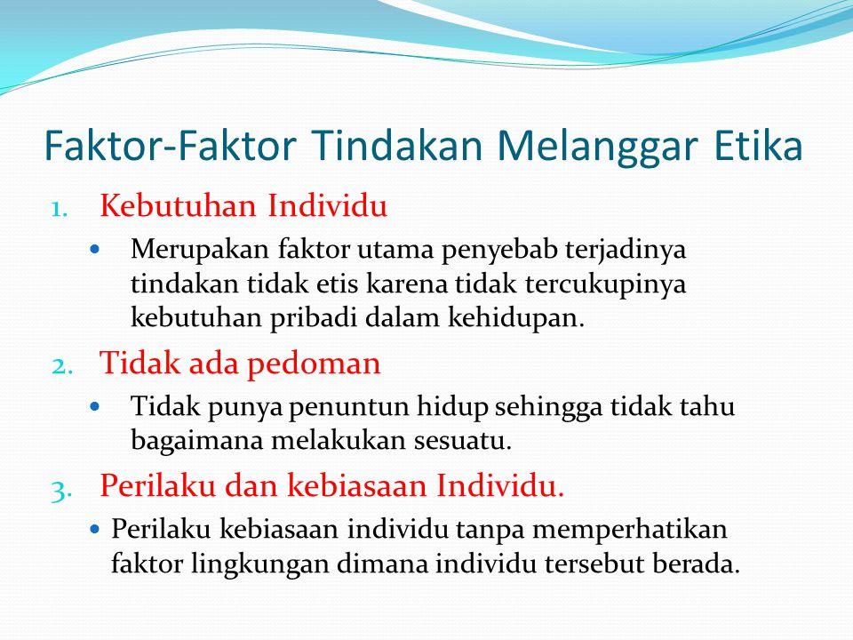 Faktor-Faktor Tindakan Melanggar Etika 1. Kebutuhan Individu Merupakan faktor utama penyebab terjadinya tindakan tidak etis karena tidak tercukupinya