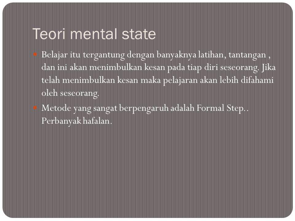 Teori mental state Belajar itu tergantung dengan banyaknya latihan, tantangan, dan ini akan menimbulkan kesan pada tiap diri seseorang.