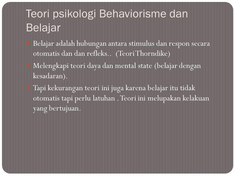 Teori psikologi Behaviorisme dan Belajar Belajar adalah hubungan antara stimulus dan respon secara otomatis dan dan refleks..