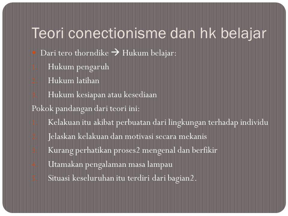 Teori conectionisme dan hk belajar Dari tero thorndike  Hukum belajar: 1. Hukum pengaruh 2. Hukum latihan 3. Hukum kesiapan atau kesediaan Pokok pand