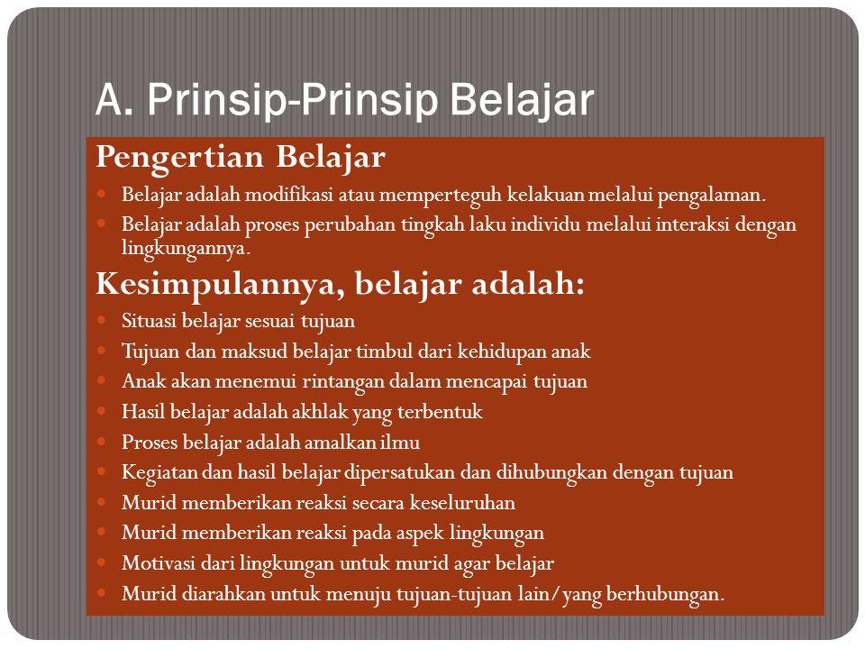 A. Prinsip-Prinsip Belajar Pengertian Belajar Belajar adalah modifikasi atau memperteguh kelakuan melalui pengalaman. Belajar adalah proses perubahan