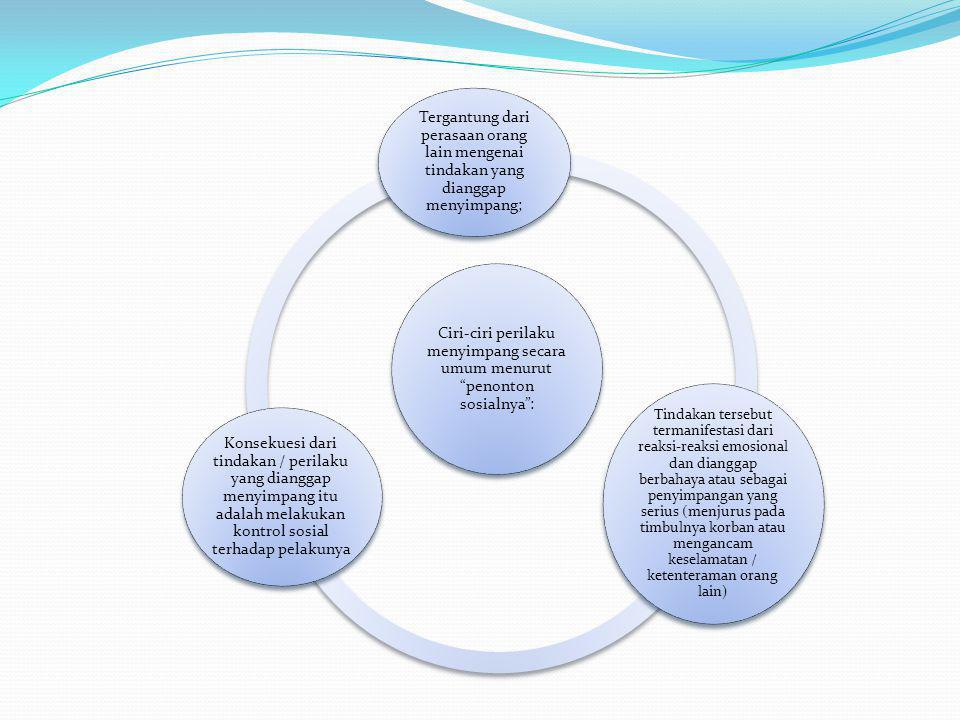 Ciri-ciri perilaku menyimpang secara umum menurut penonton sosialnya : Tergantung dari perasaan orang lain mengenai tindakan yang dianggap menyimpang; Tindakan tersebut termanifestasi dari reaksi-reaksi emosional dan dianggap berbahaya atau sebagai penyimpangan yang serius (menjurus pada timbulnya korban atau mengancam keselamatan / ketenteraman orang lain) Konsekuesi dari tindakan / perilaku yang dianggap menyimpang itu adalah melakukan kontrol sosial terhadap pelakunya