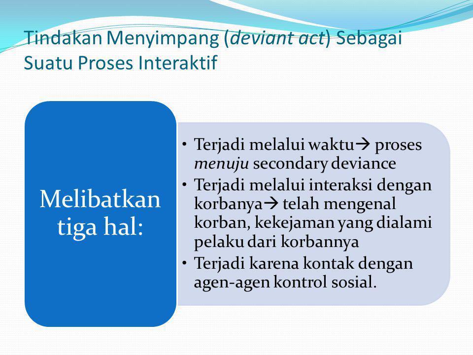 Tindakan Menyimpang (deviant act) Sebagai Suatu Proses Interaktif Terjadi melalui waktu  proses menuju secondary deviance Terjadi melalui interaksi d