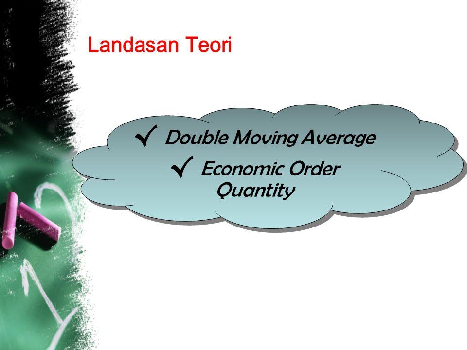 Double Moving Average Suatu cara peramalan dengan mengambil sekelompok pengamatan, mencari rata-ratanya dan menggunakannya untuk melakukan peramalan.