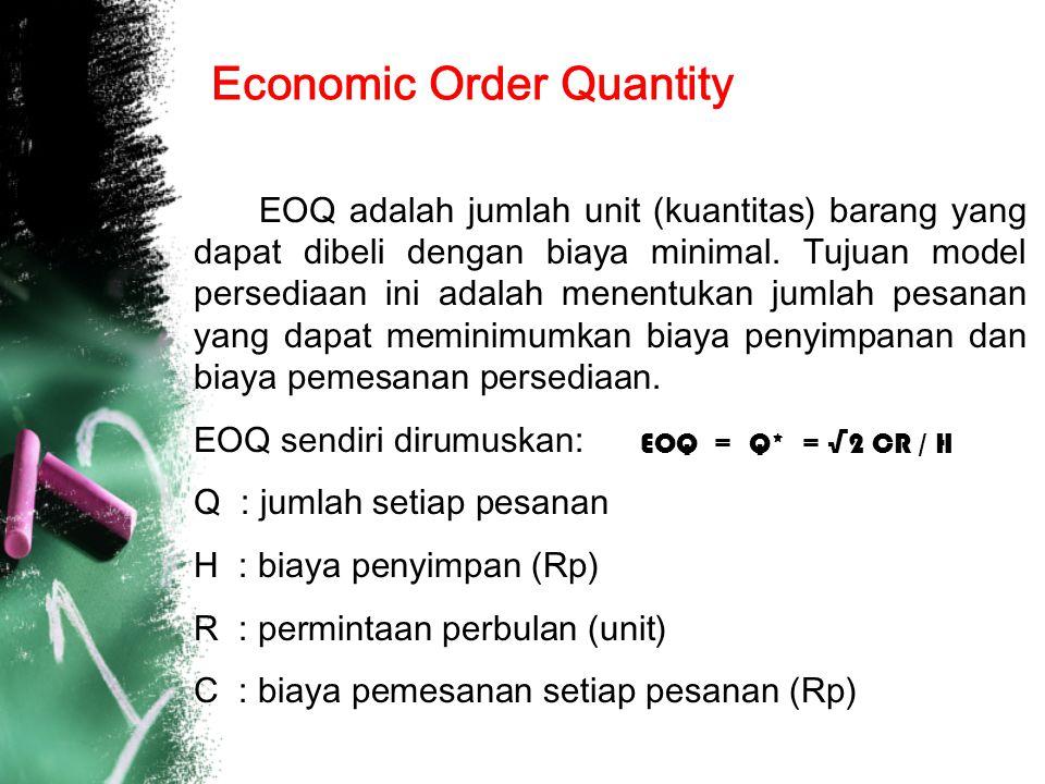 Economic Order Quantity EOQ adalah jumlah unit (kuantitas) barang yang dapat dibeli dengan biaya minimal.