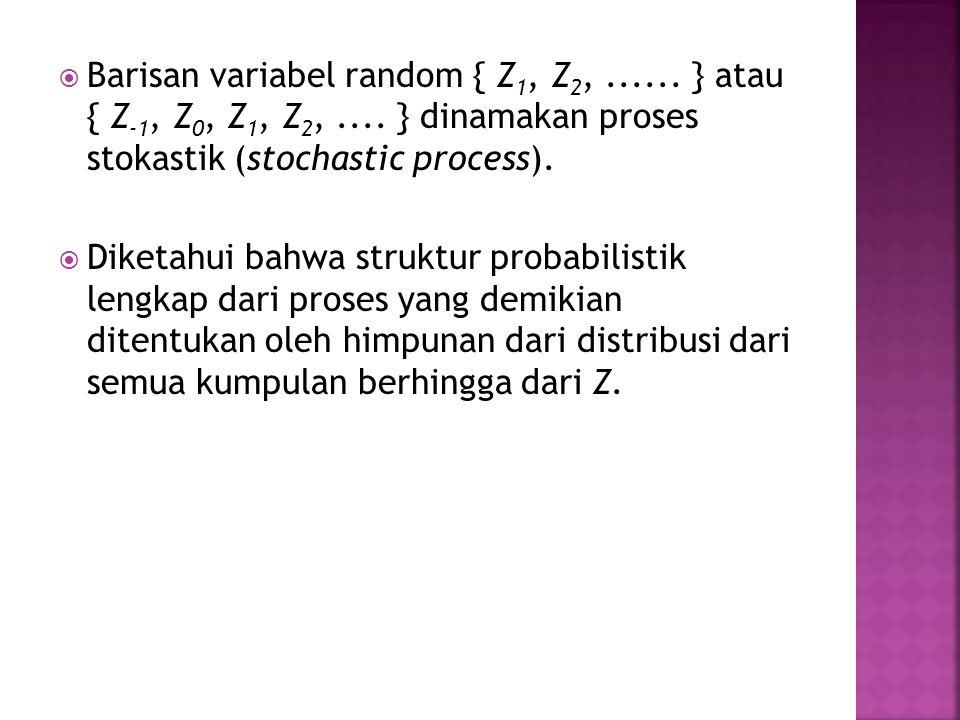  Barisan variabel random { Z 1, Z 2,...... } atau { Z -1, Z 0, Z 1, Z 2,.... } dinamakan proses stokastik (stochastic process).  Diketahui bahwa str