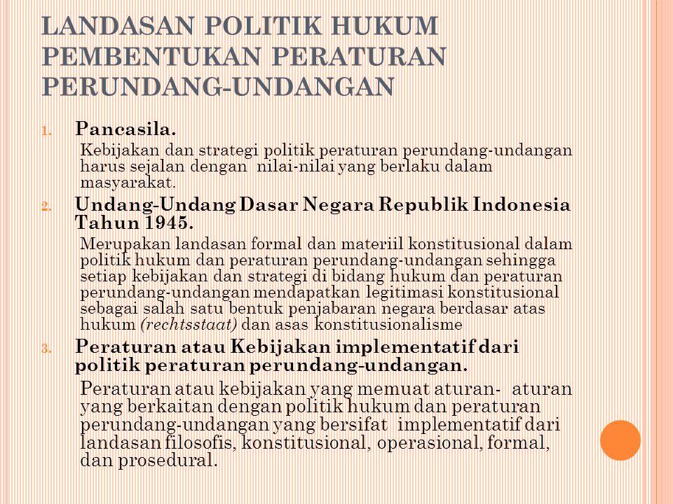 LANDASAN POLITIK HUKUM PEMBENTUKAN PERATURAN PERUNDANG-UNDANGAN 1.