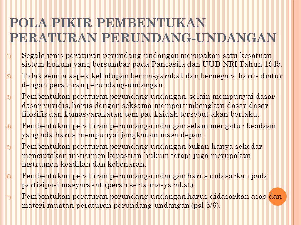 POLA PIKIR PEMBENTUKAN PERATURAN PERUNDANG ‑ UNDANGAN 1) Segala jenis peraturan perundang-undangan merupakan satu kesatuan sistem hukum yang bersumbar pada Pancasila dan UUD NRI Tahun 1945.