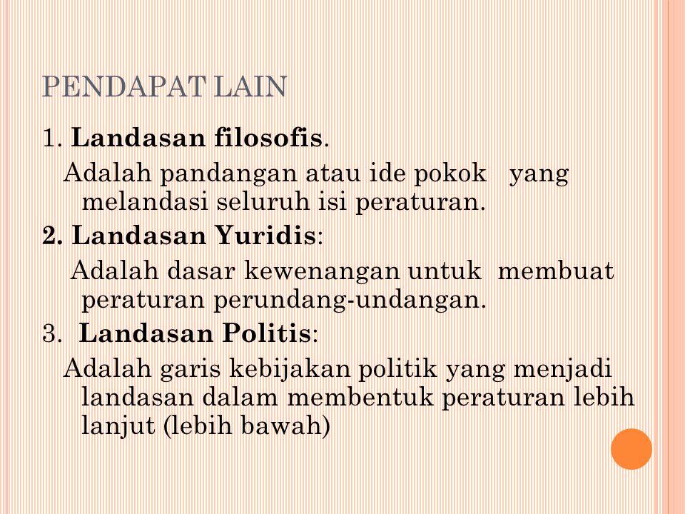 PENDAPAT LAIN 1.Landasan filosofis.