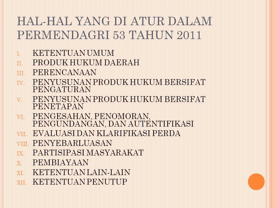HAL-HAL YANG DI ATUR DALAM PERMENDAGRI 53 TAHUN 2011 I.