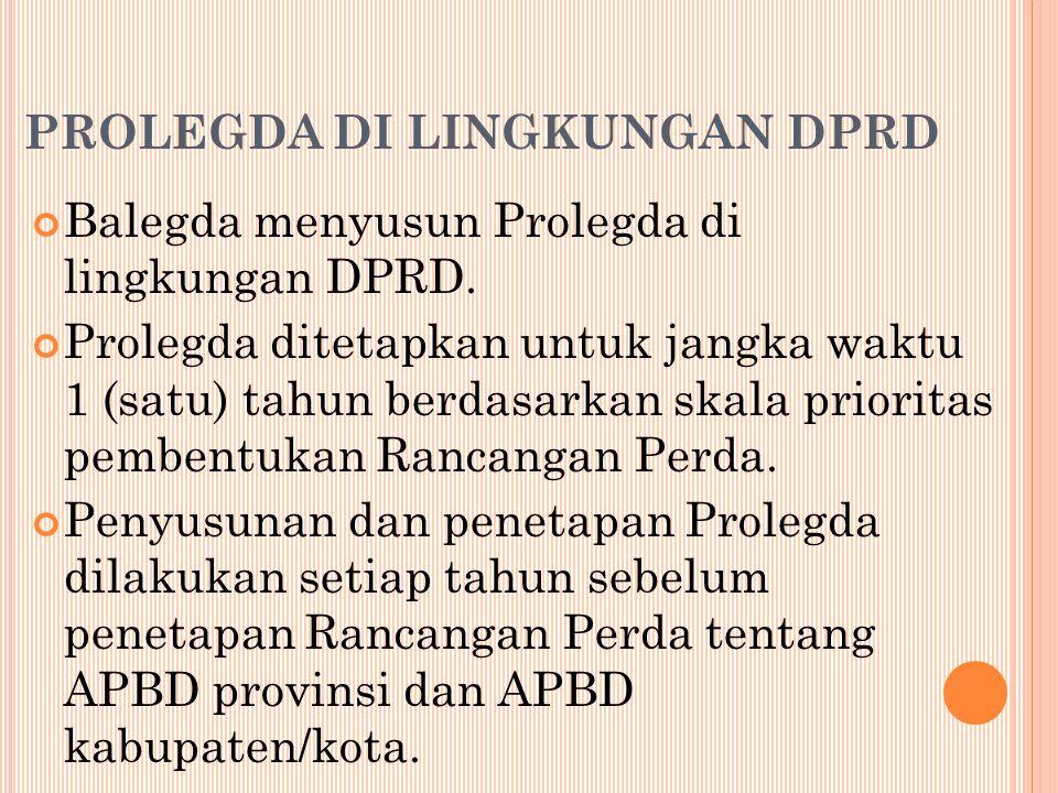 PROLEGDA DI LINGKUNGAN DPRD Balegda menyusun Prolegda di lingkungan DPRD.