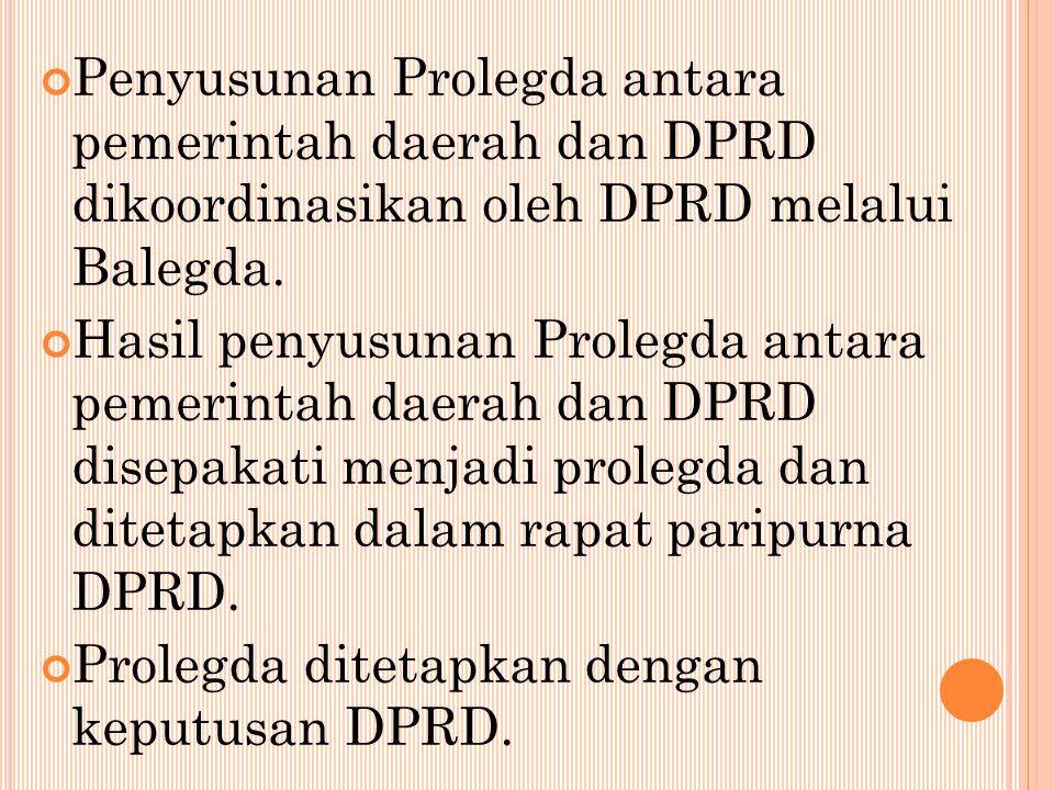 Penyusunan Prolegda antara pemerintah daerah dan DPRD dikoordinasikan oleh DPRD melalui Balegda.