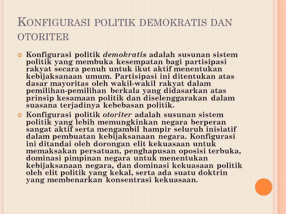 K ONFIGURASI POLITIK DEMOKRATIS DAN OTORITER Konfigurasi politik demokratis adalah susunan sistem politik yang membuka kesempatan bagi partisipasi rakyat secara penuh untuk ikut aktif menentukan kebijaksanaan umum.