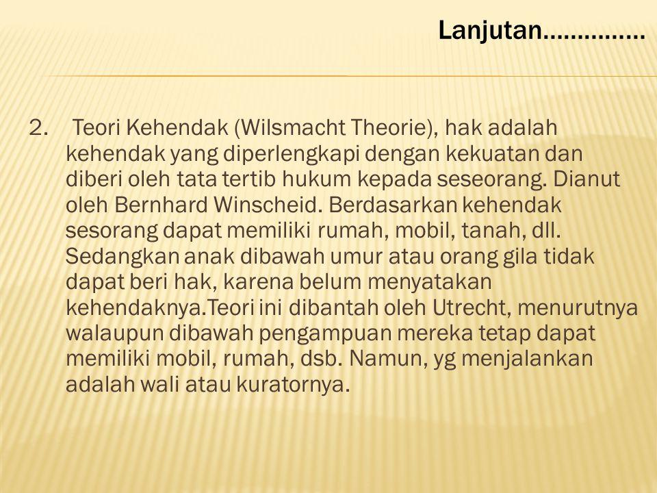 Ada dua teori dalam ilmu hukum untuk menjelaskan keberadaan Hak, yaitu ; 1. Teori Kepentingan (Belangen Theorie), dianut Rudolf von Jhering, yang berp