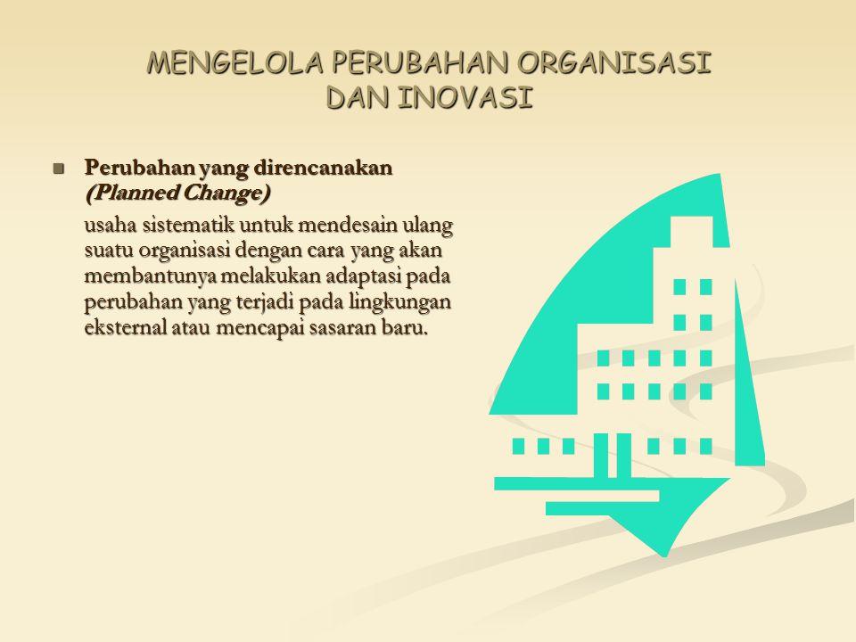MENGELOLA PERUBAHAN ORGANISASI DAN INOVASI Perubahan yang direncanakan (Planned Change) Perubahan yang direncanakan (Planned Change) usaha sistematik