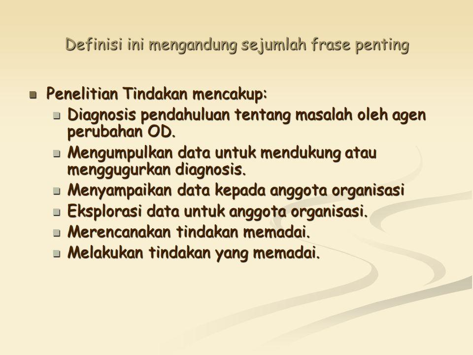 Definisi ini mengandung sejumlah frase penting Penelitian Tindakan mencakup: Penelitian Tindakan mencakup: Diagnosis pendahuluan tentang masalah oleh