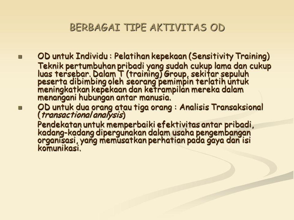 BERBAGAI TIPE AKTIVITAS OD OD untuk Individu : Pelatihan kepekaan (Sensitivity Training) OD untuk Individu : Pelatihan kepekaan (Sensitivity Training)