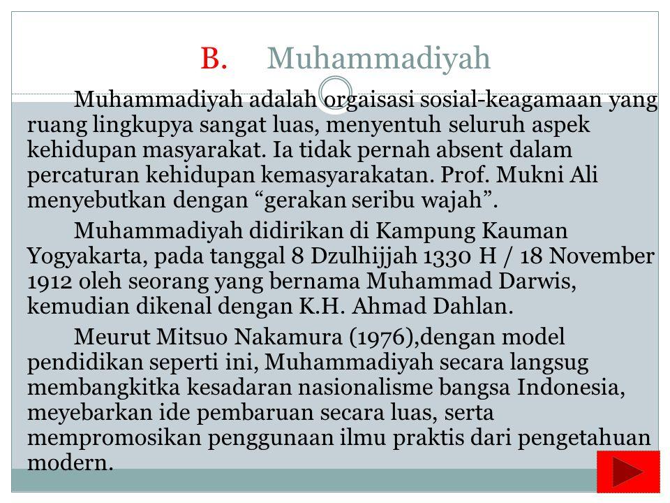 Aktivitas Organisasi NU (Nahdlatul Ulama) : 1. Di bidang agama, melaksanakan dakwah Islamiyah dan meningkatkan rasa persaudaraan yang berpijak pada se