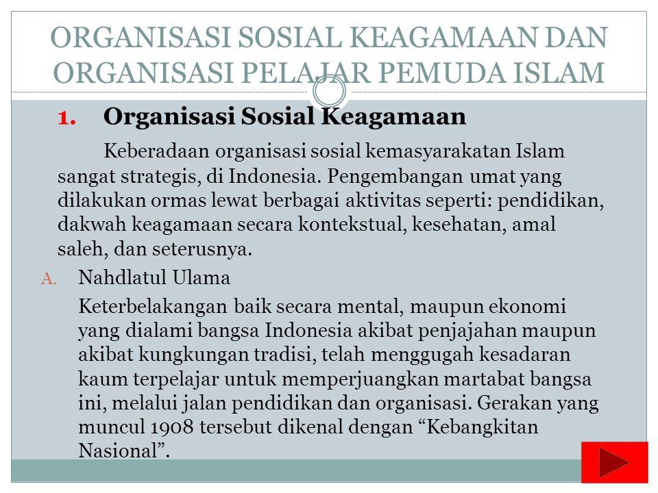ORGANISASI SOSIAL KEAGAMAAN DAN ORGANISASI PELAJAR PEMUDA ISLAM 1.