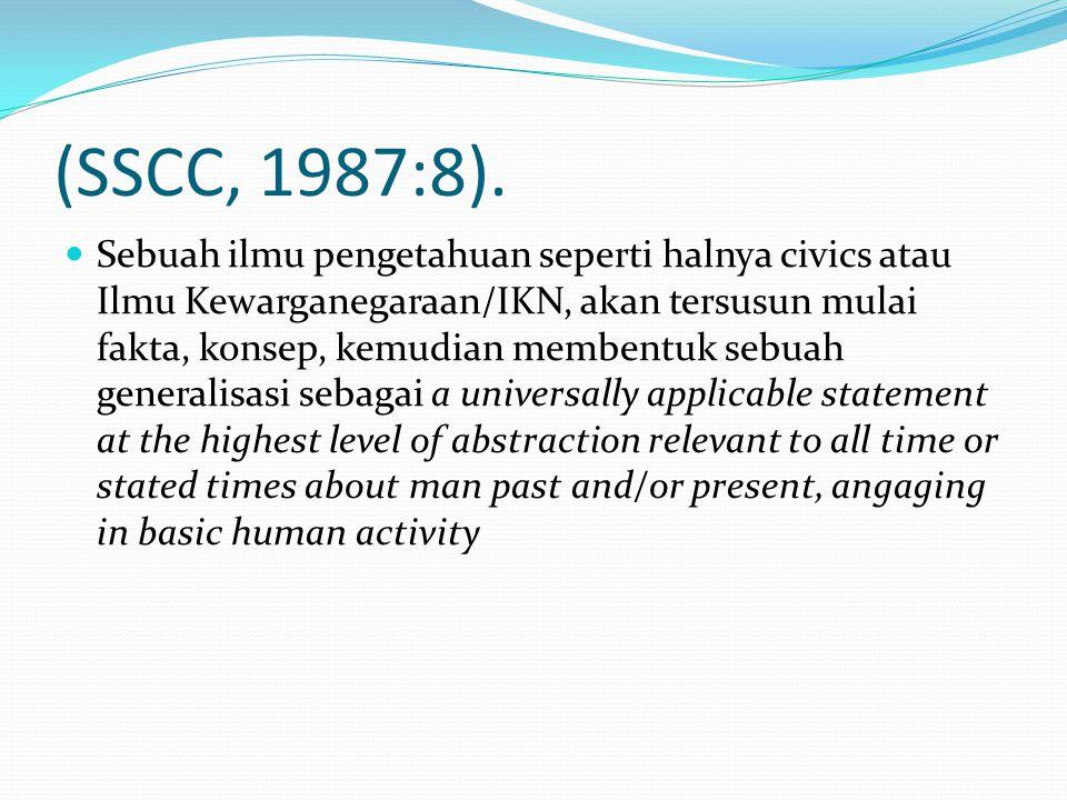(SSCC, 1987:8). Sebuah ilmu pengetahuan seperti halnya civics atau Ilmu Kewarganegaraan/IKN, akan tersusun mulai fakta, konsep, kemudian membentuk seb