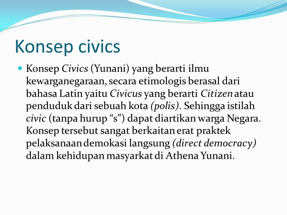 Konsep civics Konsep Civics (Yunani) yang berarti ilmu kewarganegaraan, secara etimologis berasal dari bahasa Latin yaitu Civicus yang berarti Citizen