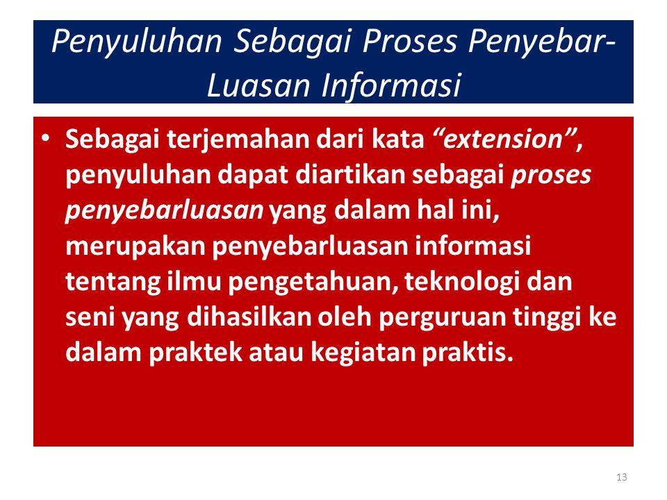 """Penyuluhan Sebagai Proses Penyebar- Luasan Informasi Sebagai terjemahan dari kata """"extension"""", penyuluhan dapat diartikan sebagai proses penyebarluasa"""