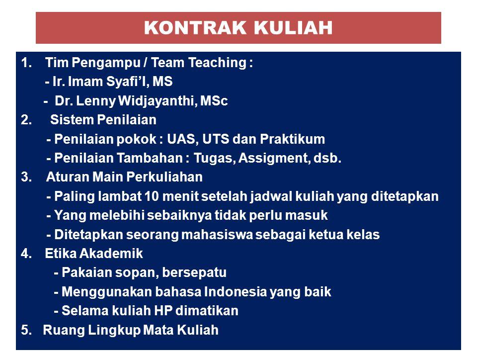 KONTRAK KULIAH 1.Tim Pengampu / Team Teaching : - Ir. Imam Syafi'I, MS - Dr. Lenny Widjayanthi, MSc 2. Sistem Penilaian - Penilaian pokok : UAS, UTS d