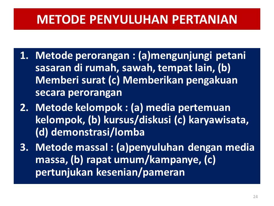 METODE PENYULUHAN PERTANIAN 1.Metode perorangan : (a)mengunjungi petani sasaran di rumah, sawah, tempat lain, (b) Memberi surat (c) Memberikan pengaku