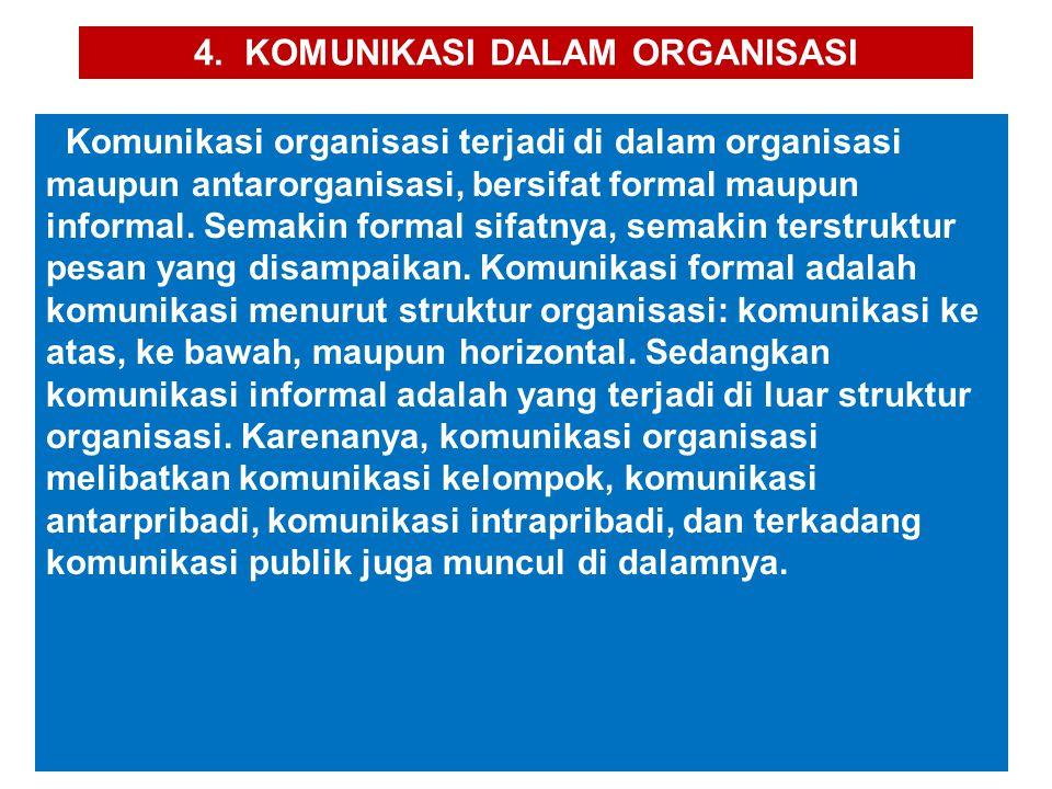 4. KOMUNIKASI DALAM ORGANISASI Komunikasi organisasi terjadi di dalam organisasi maupun antarorganisasi, bersifat formal maupun informal. Semakin form