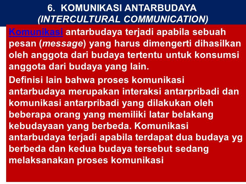 6. KOMUNIKASI ANTARBUDAYA (INTERCULTURAL COMMUNICATION) KomunikasiKomunikasi antarbudaya terjadi apabila sebuah pesan (message) yang harus dimengerti