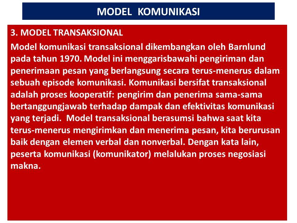 MODEL KOMUNIKASI # 3. MODEL TRANSAKSIONAL Model komunikasi transaksional dikembangkan oleh Barnlund pada tahun 1970. Model ini menggarisbawahi pengiri