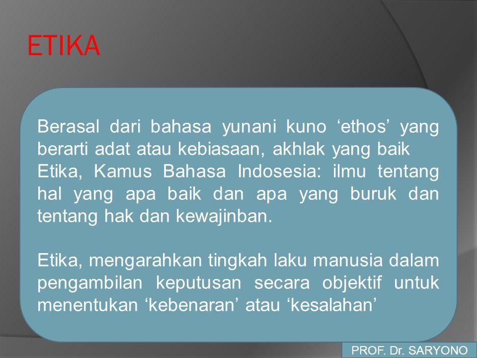 ETIKA Berasal dari bahasa yunani kuno 'ethos' yang berarti adat atau kebiasaan, akhlak yang baik Etika, Kamus Bahasa Indosesia: ilmu tentang hal yang