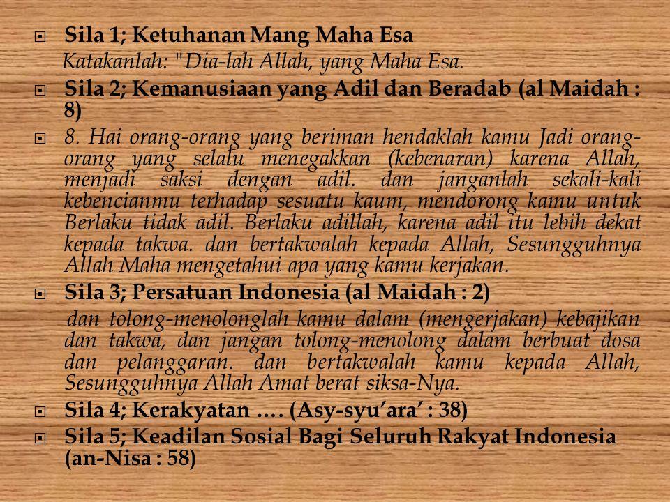  Sila 1; Ketuhanan Mang Maha Esa Katakanlah: