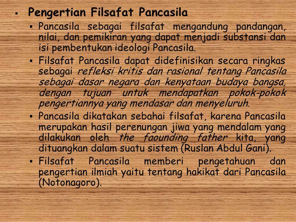  Pengertian Filsafat Pancasila  Pancasila sebagai filsafat mengandung pandangan, nilai, dan pemikiran yang dapat menjadi substansi dan isi pembentuk