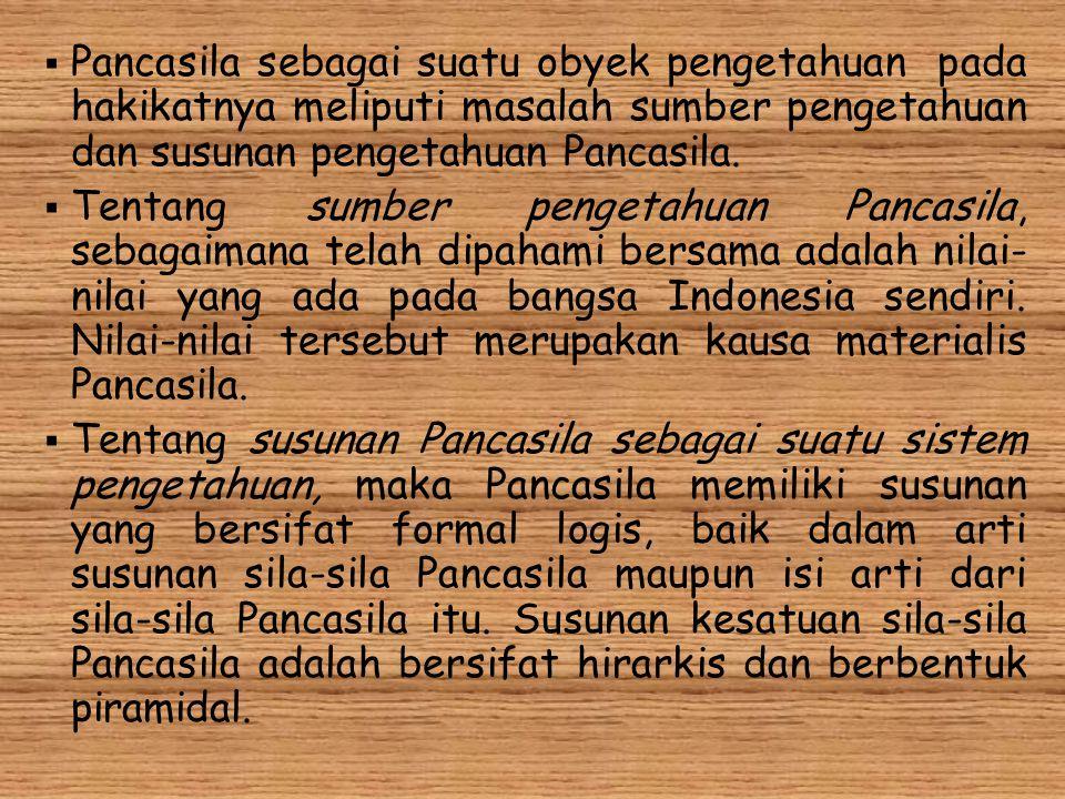  Pancasila sebagai suatu obyek pengetahuan pada hakikatnya meliputi masalah sumber pengetahuan dan susunan pengetahuan Pancasila.  Tentang sumber pe