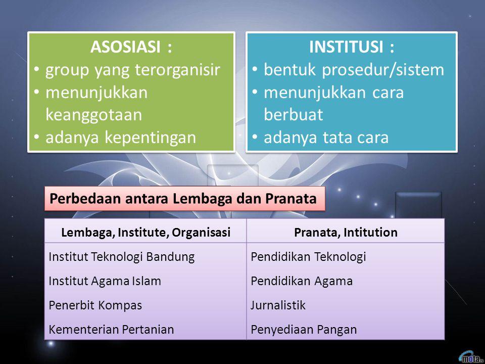 ASOSIASI : group yang terorganisir menunjukkan keanggotaan adanya kepentingan ASOSIASI : group yang terorganisir menunjukkan keanggotaan adanya kepent