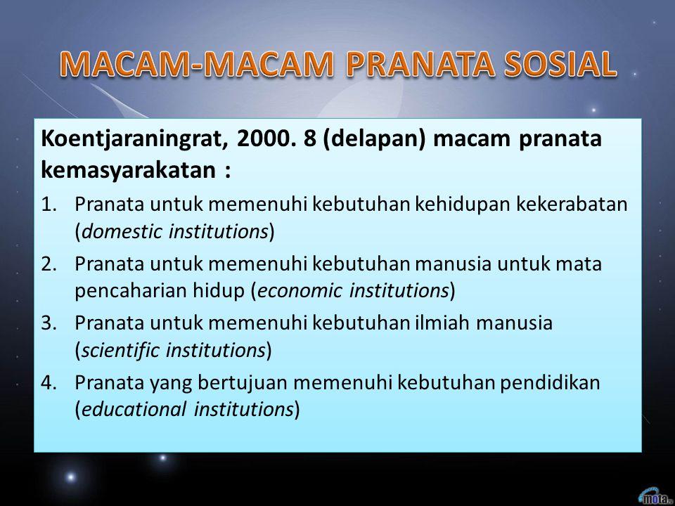 Koentjaraningrat, 2000. 8 (delapan) macam pranata kemasyarakatan : 1.Pranata untuk memenuhi kebutuhan kehidupan kekerabatan (domestic institutions) 2.