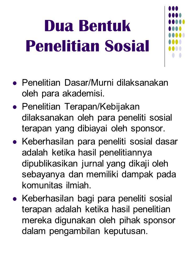 Dua Bentuk Penelitian Sosial Penelitian Dasar/Murni dilaksanakan oleh para akademisi. Penelitian Terapan/Kebijakan dilaksanakan oleh para peneliti sos